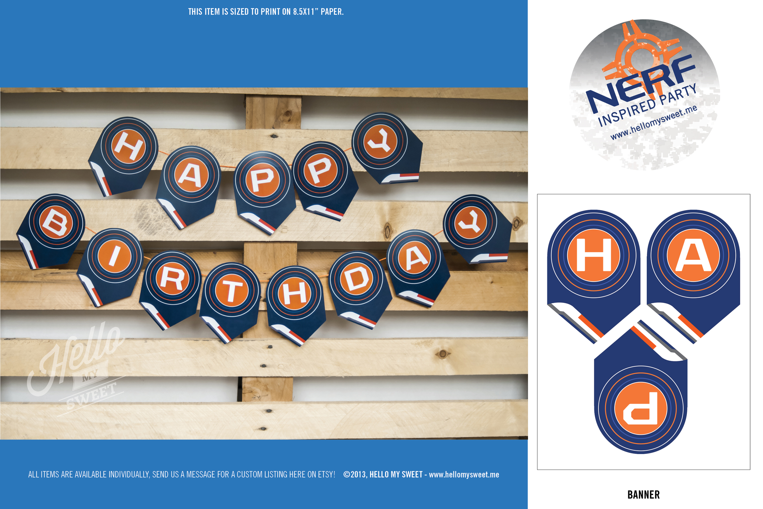Nerf Birthday Party - Printable Banner