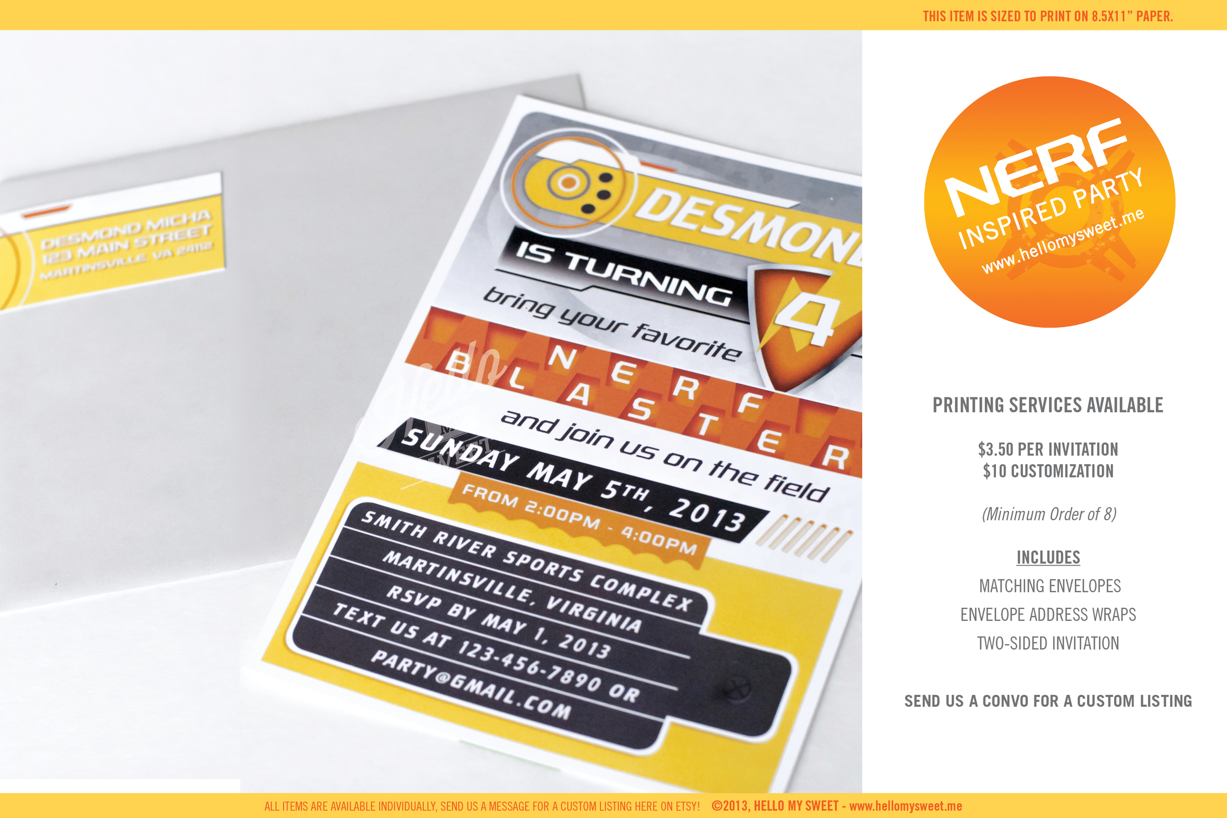 Nerf Birthday party - Printable Invitations