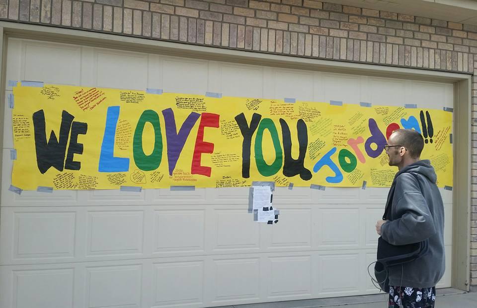 Jordan's welcome home banner upon returning from Denver.