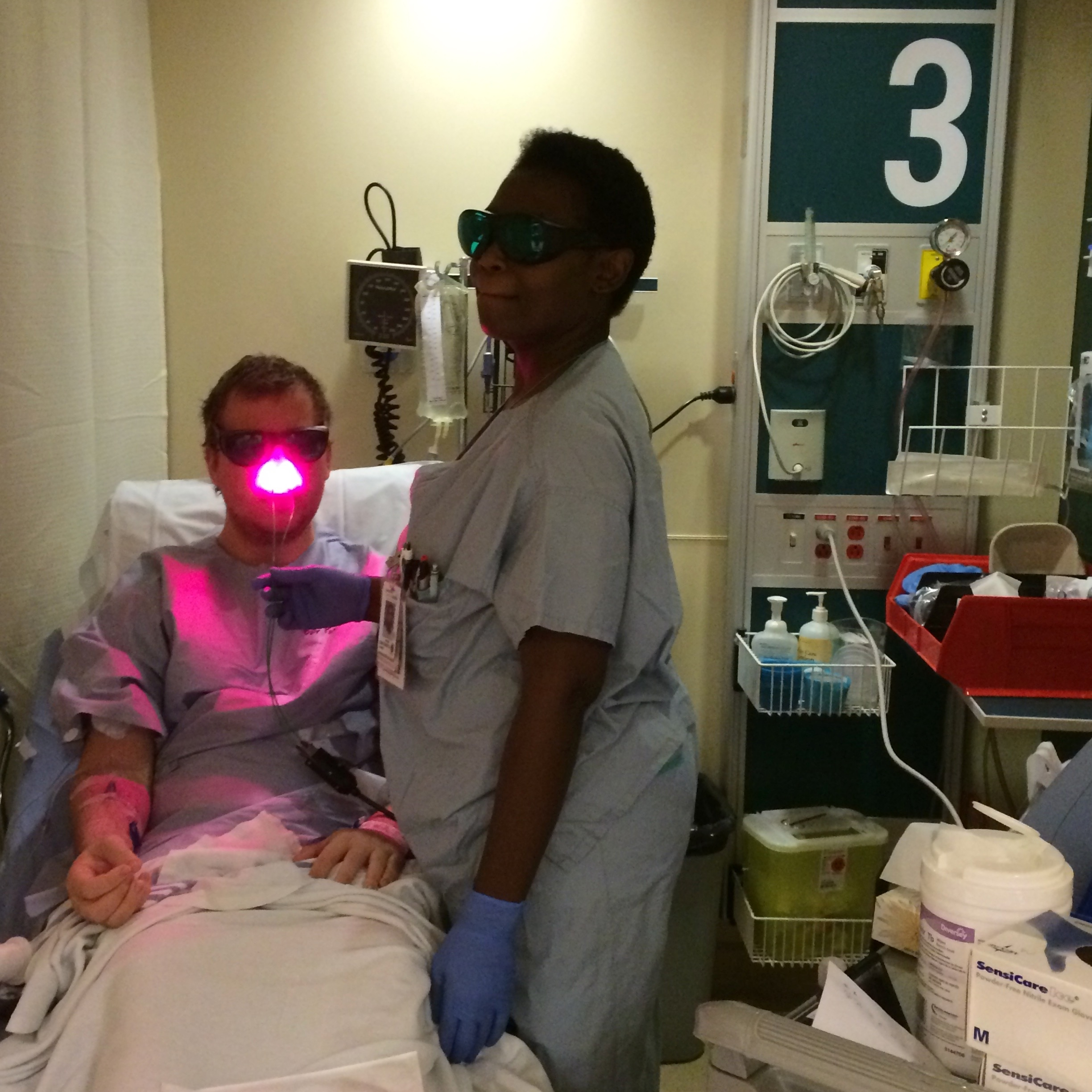 September 2014 - Alex being prepped for his first lung surgery.