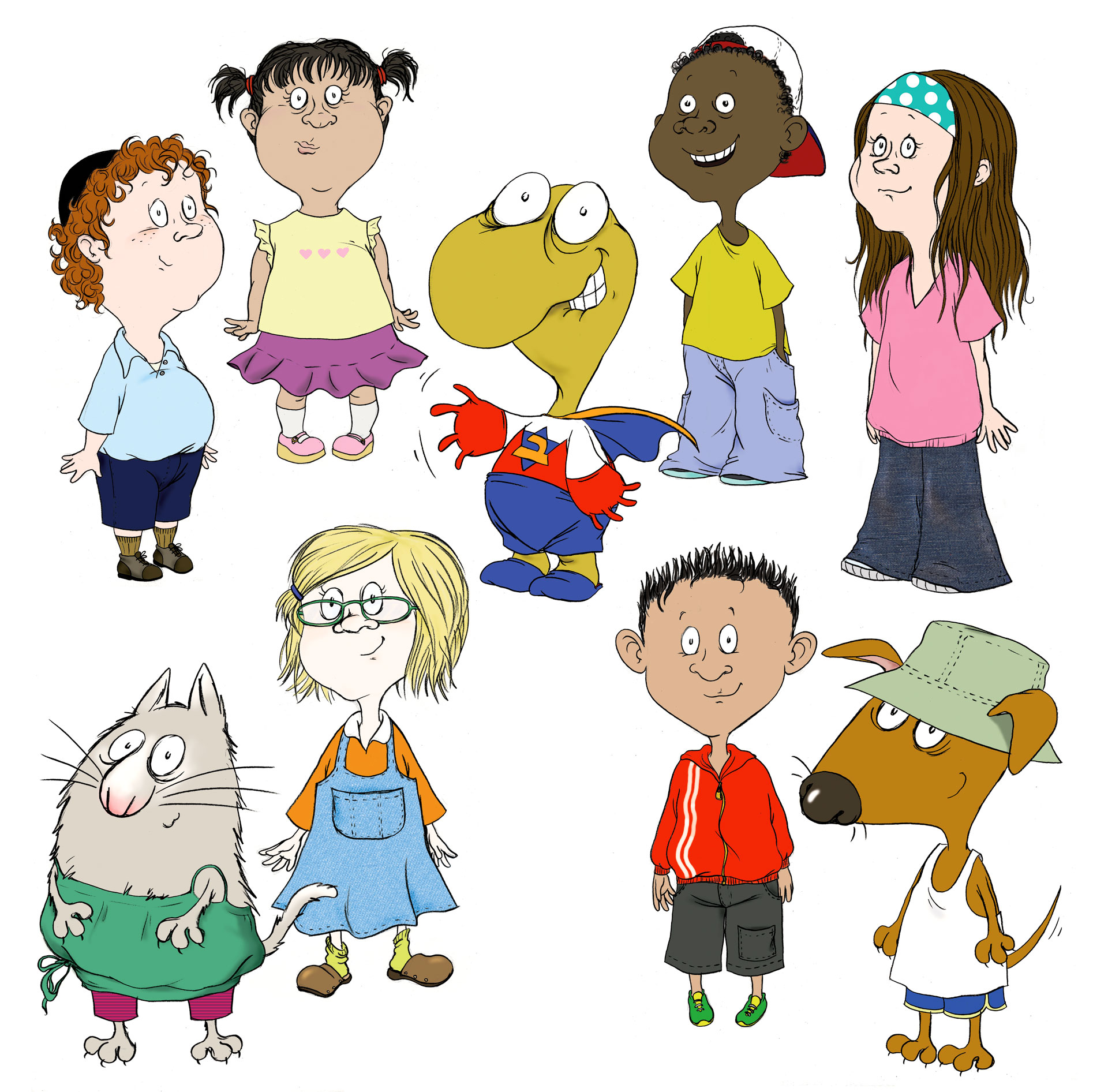 Character designs for an educational books series for pre-school children.