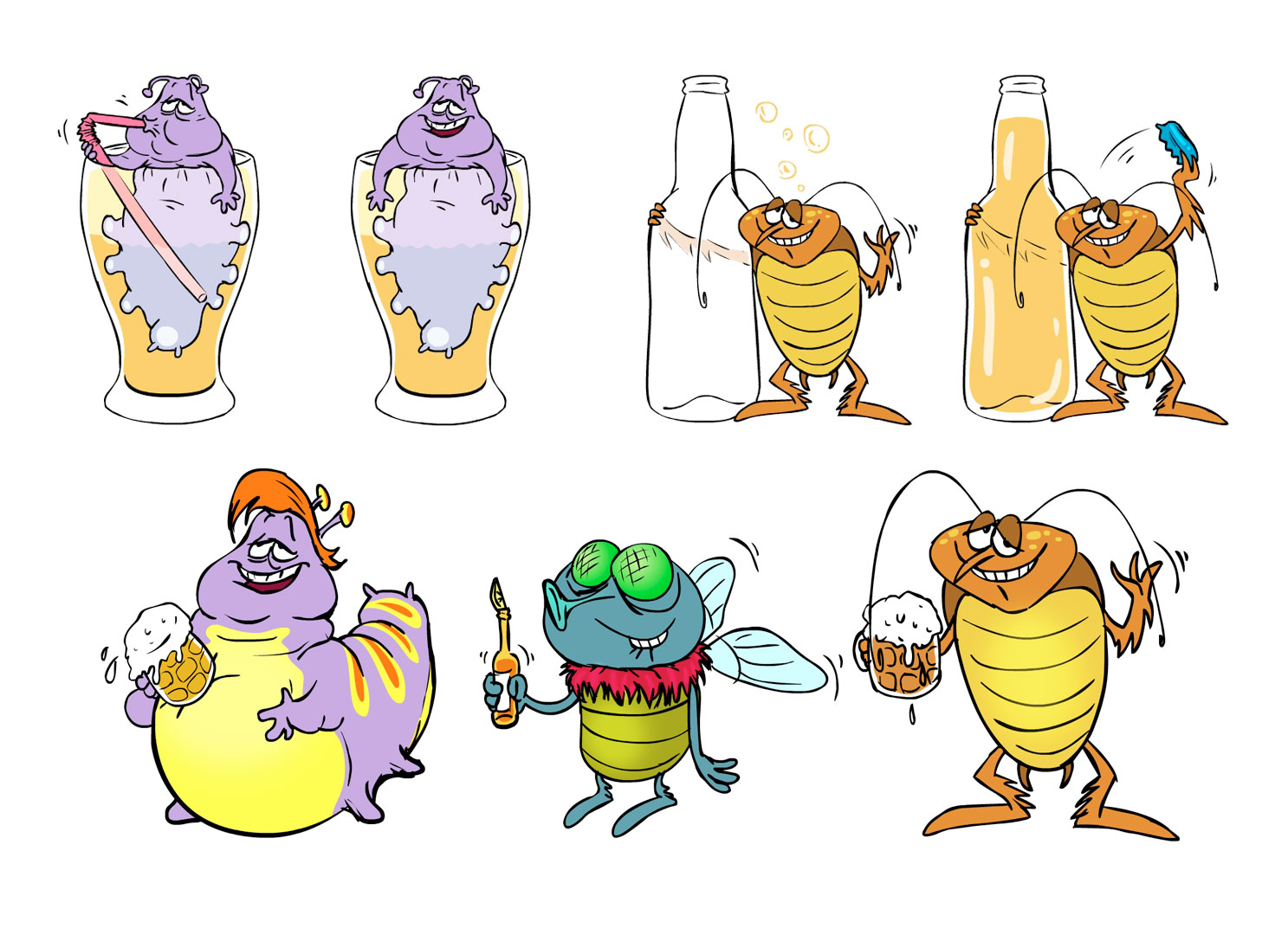 "Character designs for the Slot game ""Happy Bugs"". © Playtech."