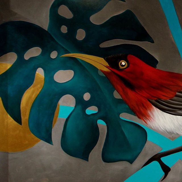 "Cropped sections from ""Miss Joaquim and the Sunbird"", my 34-foot long mural 🌿🌺"