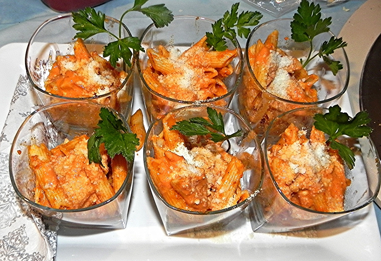 Penne Ala Vodka Served in Rocks Glasses
