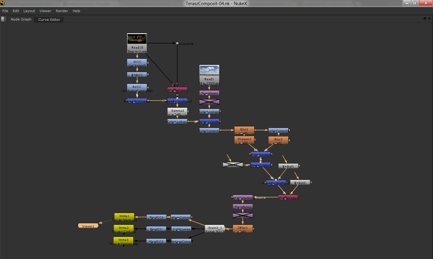 This is a node tree in Nuke.