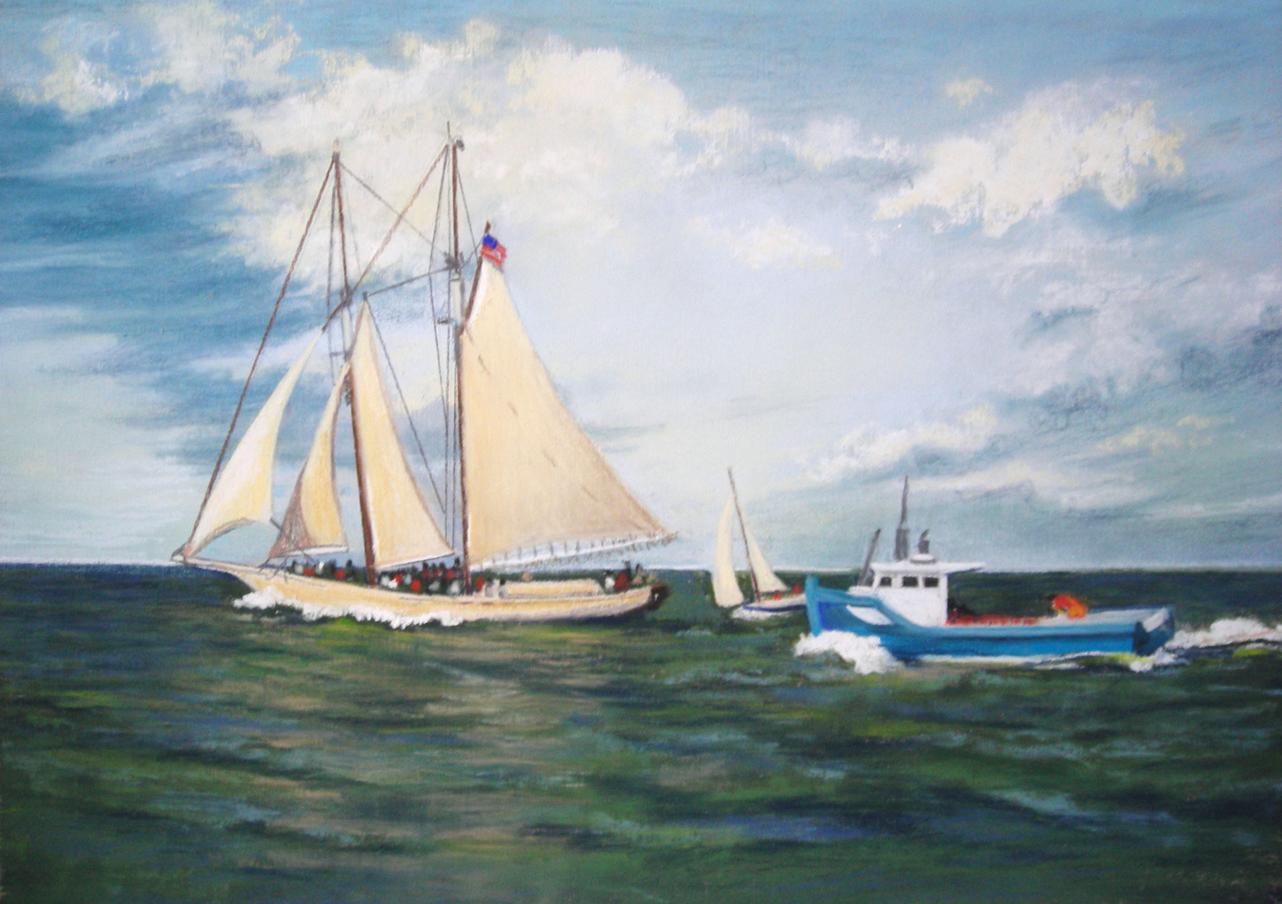 Great Sailing Day  — 16x20 matted $32