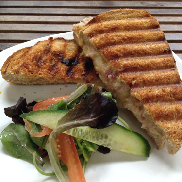 Croque Monsieur with ham and cheese.
