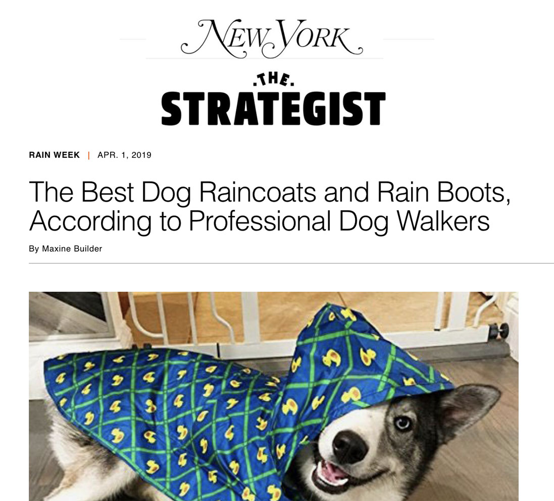 - The Well Heeled Dog NYC recently spoke to New York Magazine's The Strategist to discuss our favorite rain gear for the rainy season. Check out the article HERE!