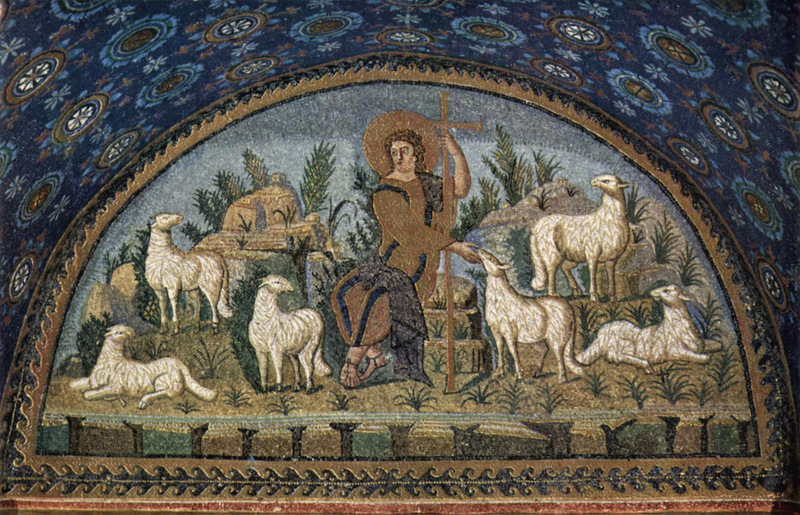 Good Shepherd mosaic in the mausoleum of Galla Placidia in Ravenna
