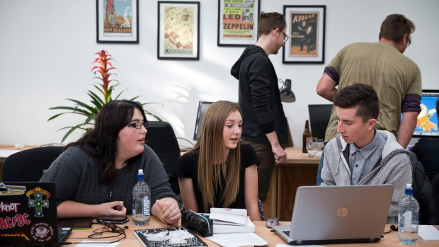 Waimea College students Zoe Pascoe, 16, left, Tayla Harvey, 16, and Morgan Earle, 16, visited the Bridge Street Collective on Thursday.  Alden Williams / Fairfax NZ