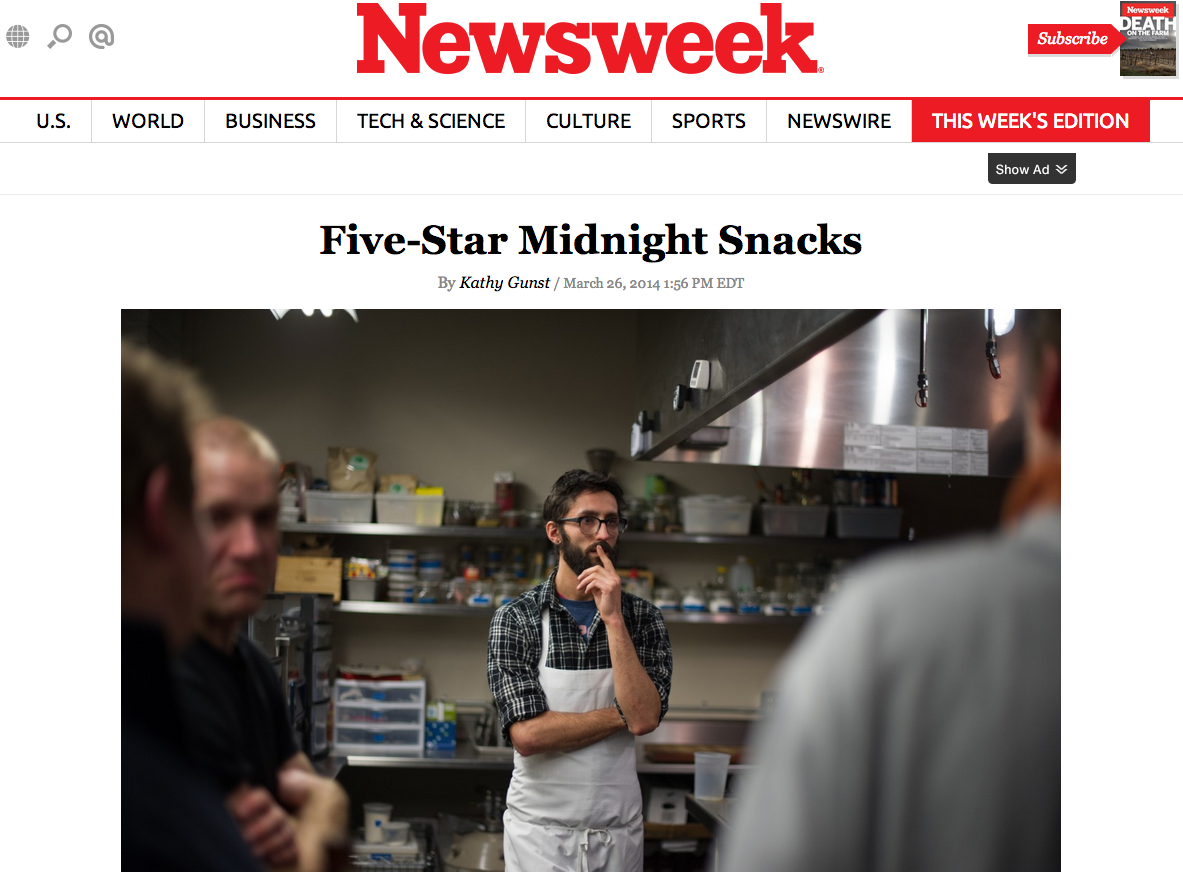 Enna's image of 'Nighthawk' was featured in Newsweek Magazine March 2014. Read the article by Kathy Gunst  here .