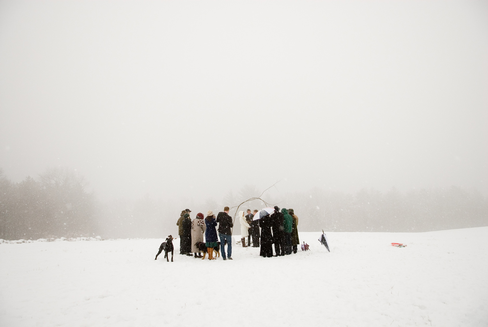 A blizzard wedding ceremony in New England, by Grazier Photography