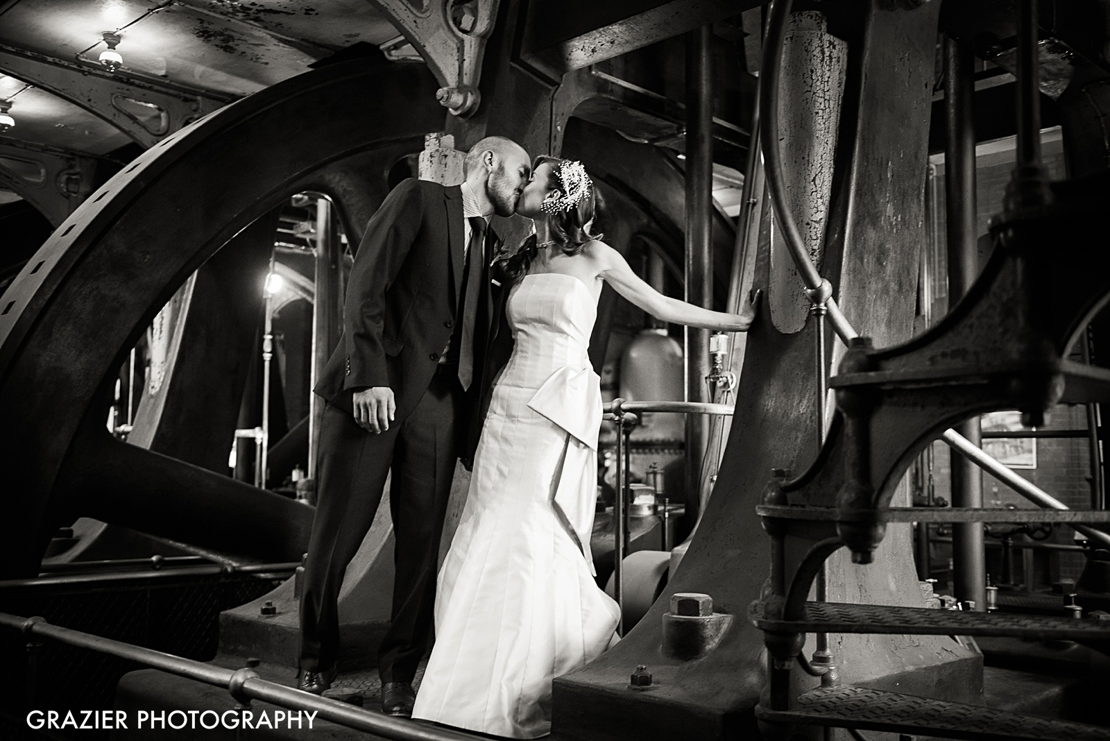 Metropolitan Waterworks Museum Wedding, Boston, by Grazier Photography, unique bride and groom portrait #industrialwedding #waterworkswedding #bostonwedding #bostonweddingphotography