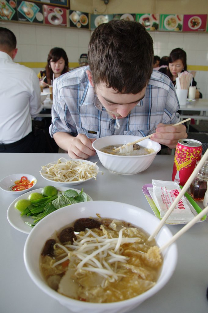 Here is Paul enjoying some vegetarian Pho at our super favourite Pho 2000.