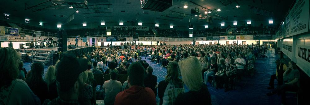 Revival service at the Williamson Field House in Williamson, WV on April 25, 2016