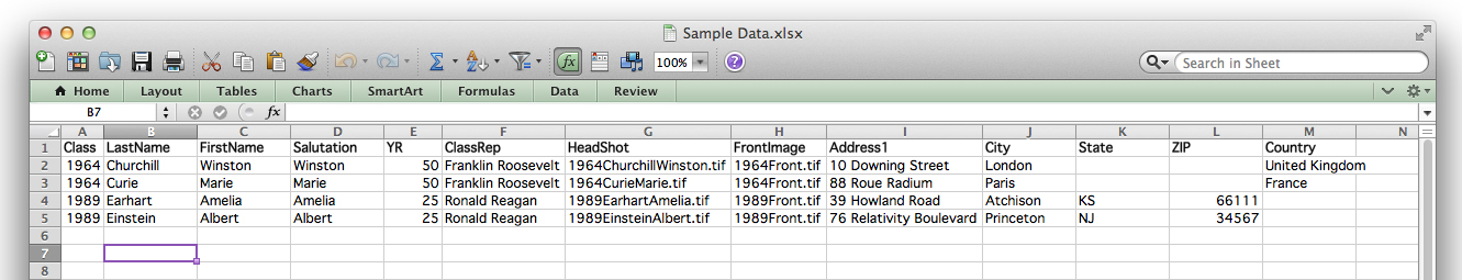 The data for our case study. Note that the column names match the fields in the layout. The images also need to be included on the spreadsheet.