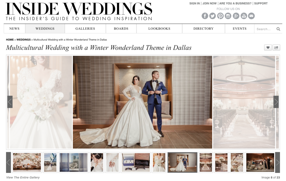 As seen on INSIDE WEDDINGS - The Insider's Guide to Wedding Inspiration