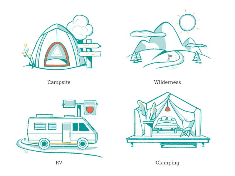 Hand-drawn illustrations for campsite types