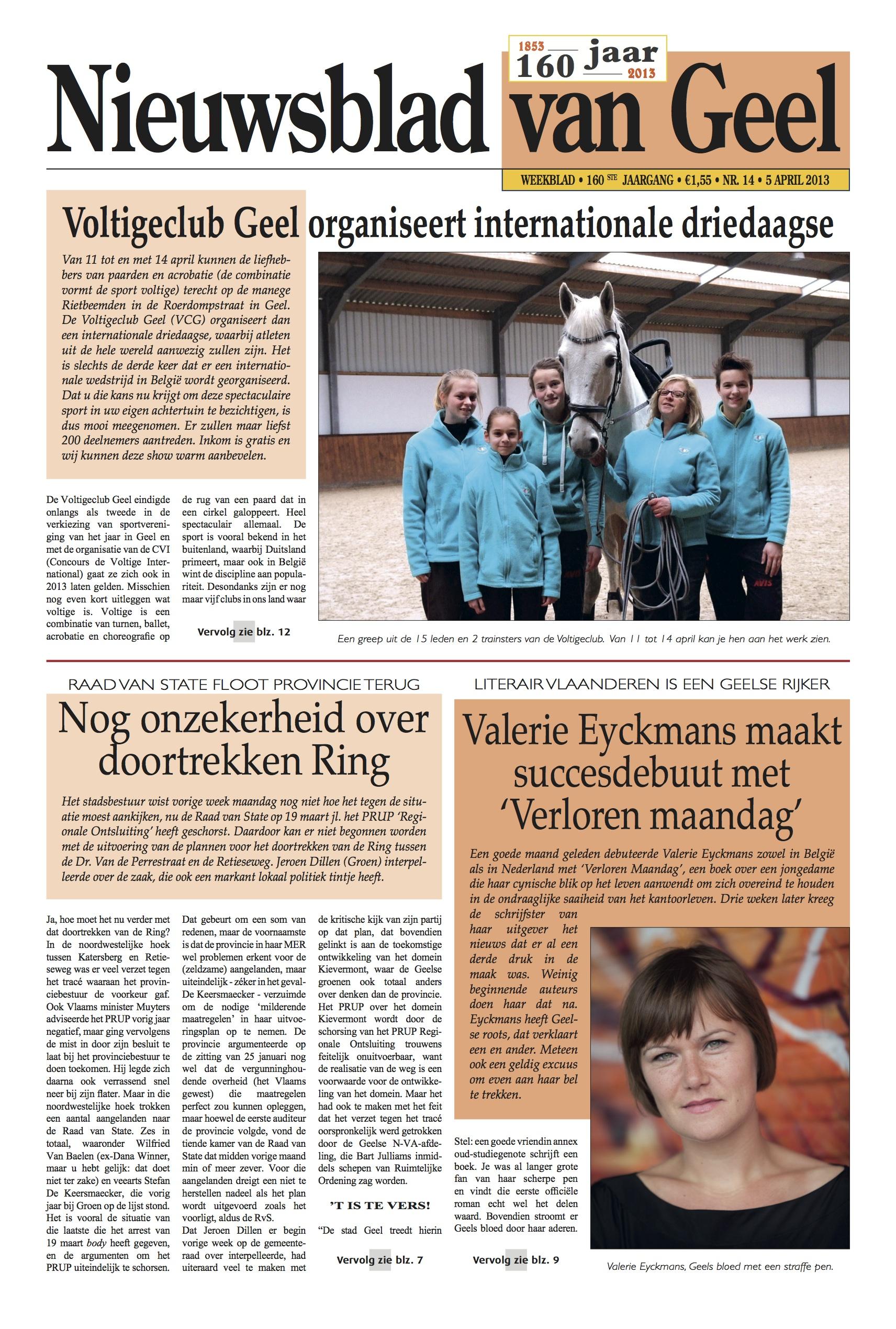 Nieuwsblad van Geel 8 april 2013