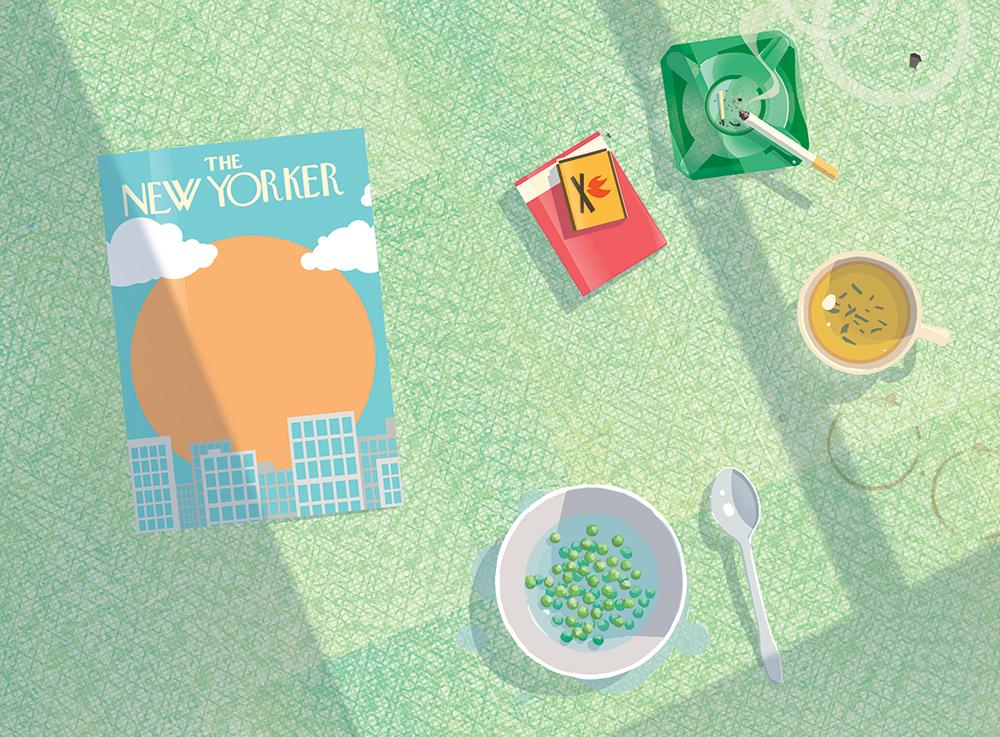 Breakfast.  Salinger ate thawed peas for breakfast, and was fond of seaweed tea.