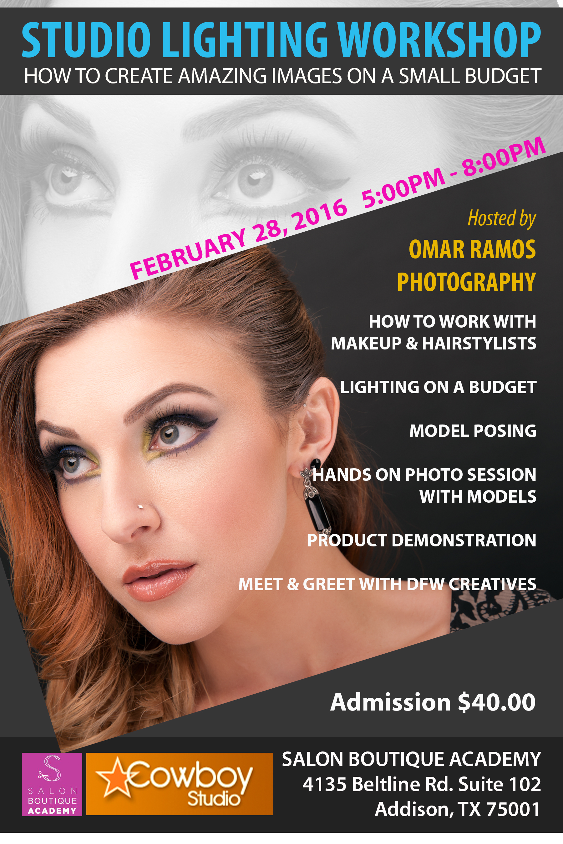 You can register online here: http://www.meetup.com/Small-Studio-Fashion-and-Portrait-Photography-Meetup/events/228414148/  https://www.eventbrite.com/e/photography-studio-lighting-workshop-tickets-21229318463