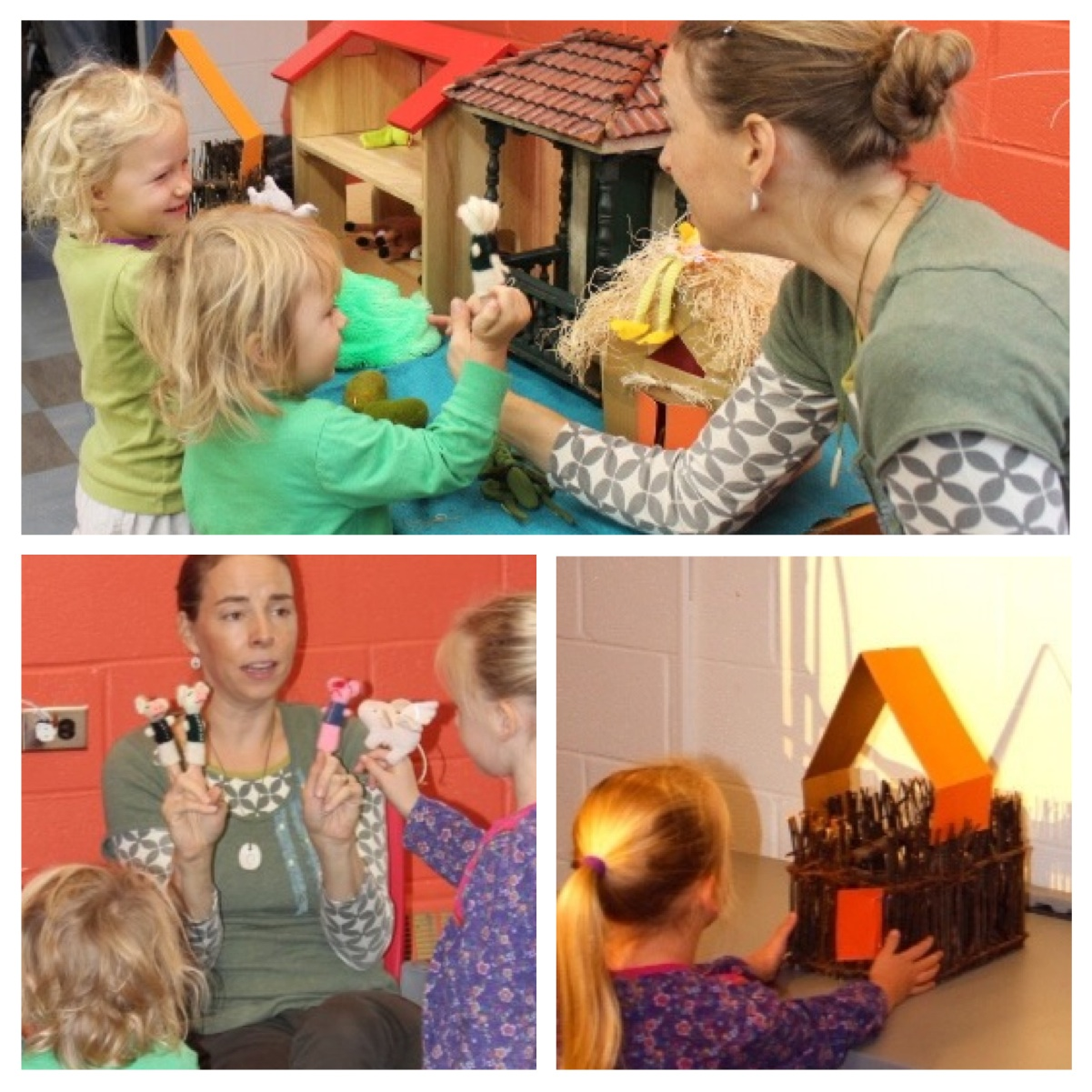 After the puppet show, the neighborhood is open for business as a children's puppet show: children are invited to choose puppets, handle the props, move around houses and engage in a new conversation with the wolf about how to make friends.