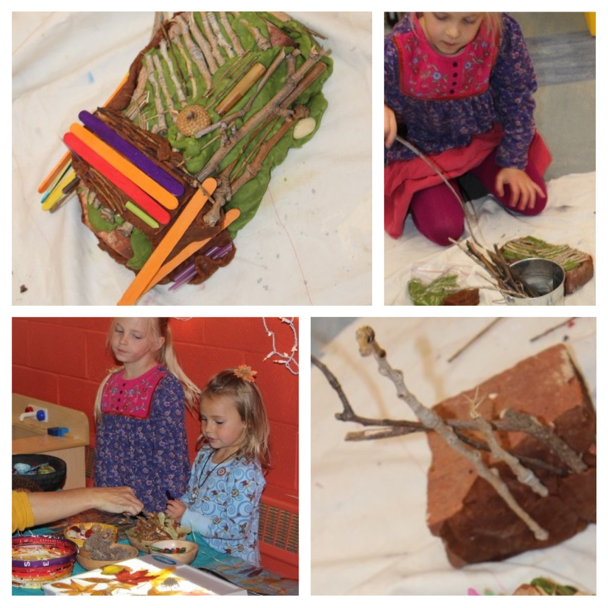 Children begin to build with brick, home made play dough and natural materials of their choice. Little plastic animals enhance story play.