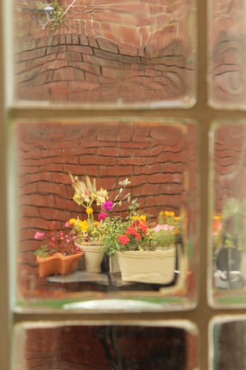 The outside comes in and sometimes beckons us in as the garden space is reflected whimsically in the glass windows blocks of our room. Many thanks to photographer Barbara Murphy who helped us to document this day with her inspiring perspective.