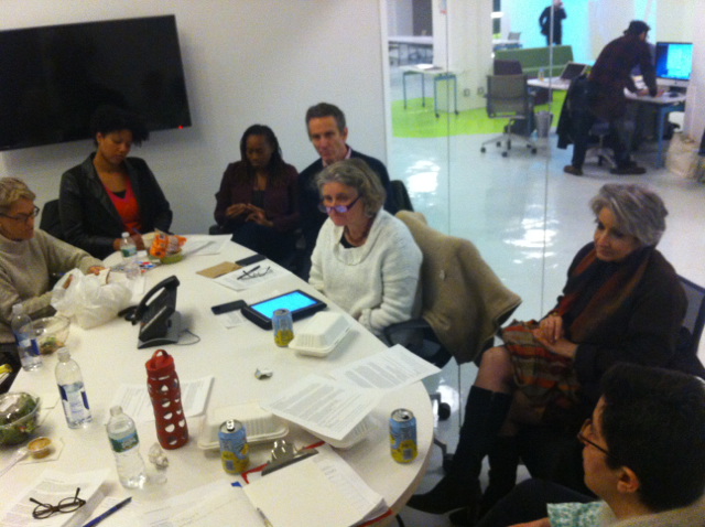 Calley Bittel, Takiema Bunche Smith, Ella Williams and Jim Matison (of Brooklyn Kindergarten Society), BNS principal Anna Allanbrook, Sherry Cleary (Director, NYC Professional Development Institute) and Beth Ferholt (Associate Professor, Early Childhood, Brooklyn College) discuss plans for the Brooklyn New School Infant Toddler Center, in a conference room at the Made in NY Media Center.