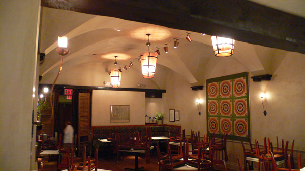 All three finished light fixtures at Gramercy Tavern