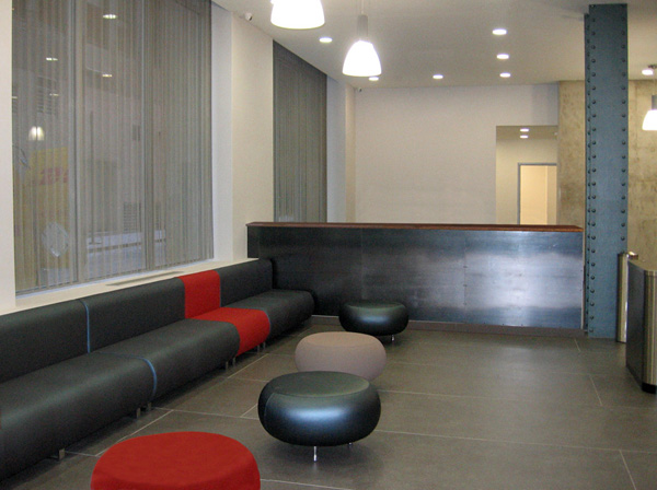 Metal panels designed to cover a room divider for Pace University dorm lobby