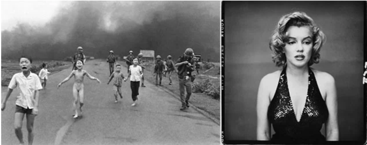 Napalm Girl  by Nick Ut (left) and  Marilyn Monroe  by Richard Avedon (right)
