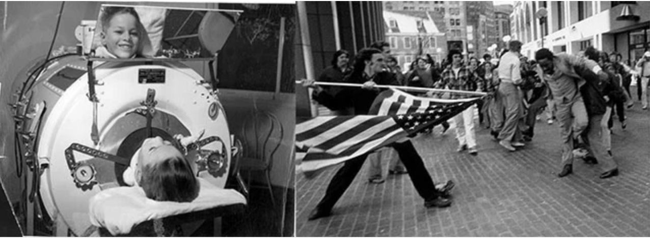 Child with Polio from the National Museum of Health and Medicine (left) and  The Soiling of Old Glory by Stanley Forman (right)