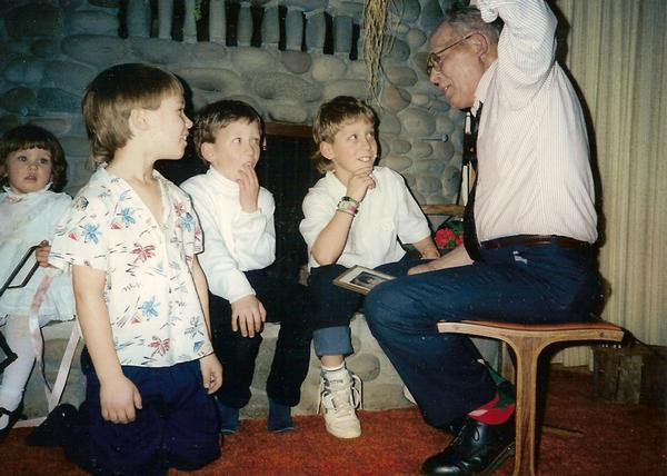 This is a shot my grandfather regaling me and my cousins as kids. I think he was telling us about the time he met grandma, while picking apples.