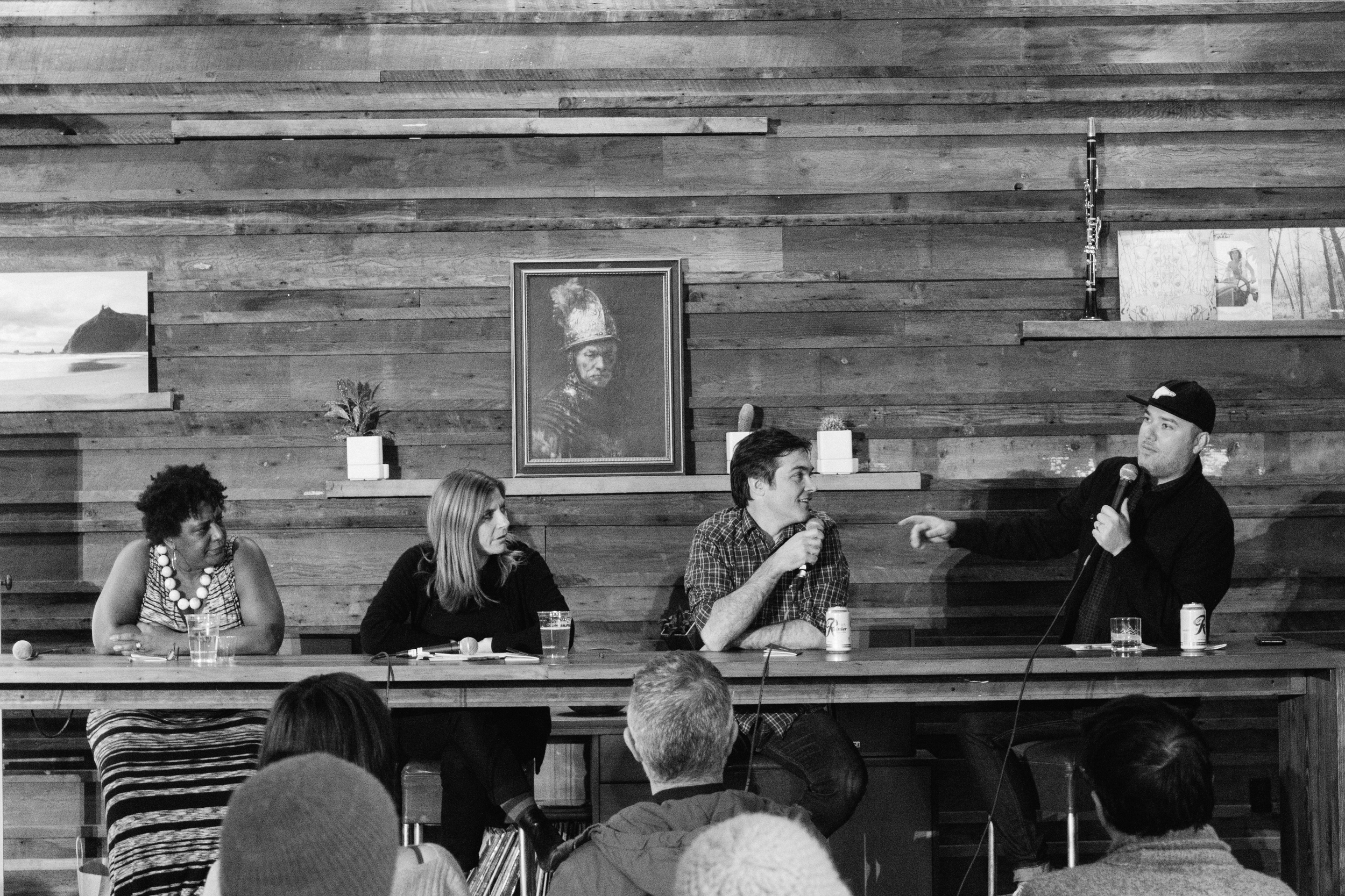 Panel speakers [from left to right]: Nan Wilson, Tracie Verlinde, Ehren Ebbage and Ryan Wines (Photo by Brandon Day)