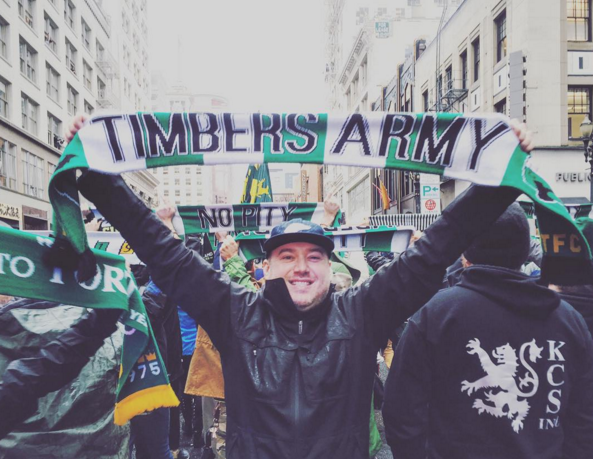 Co-Founder, Ryan Wines at the Timbers parade, post-victory.