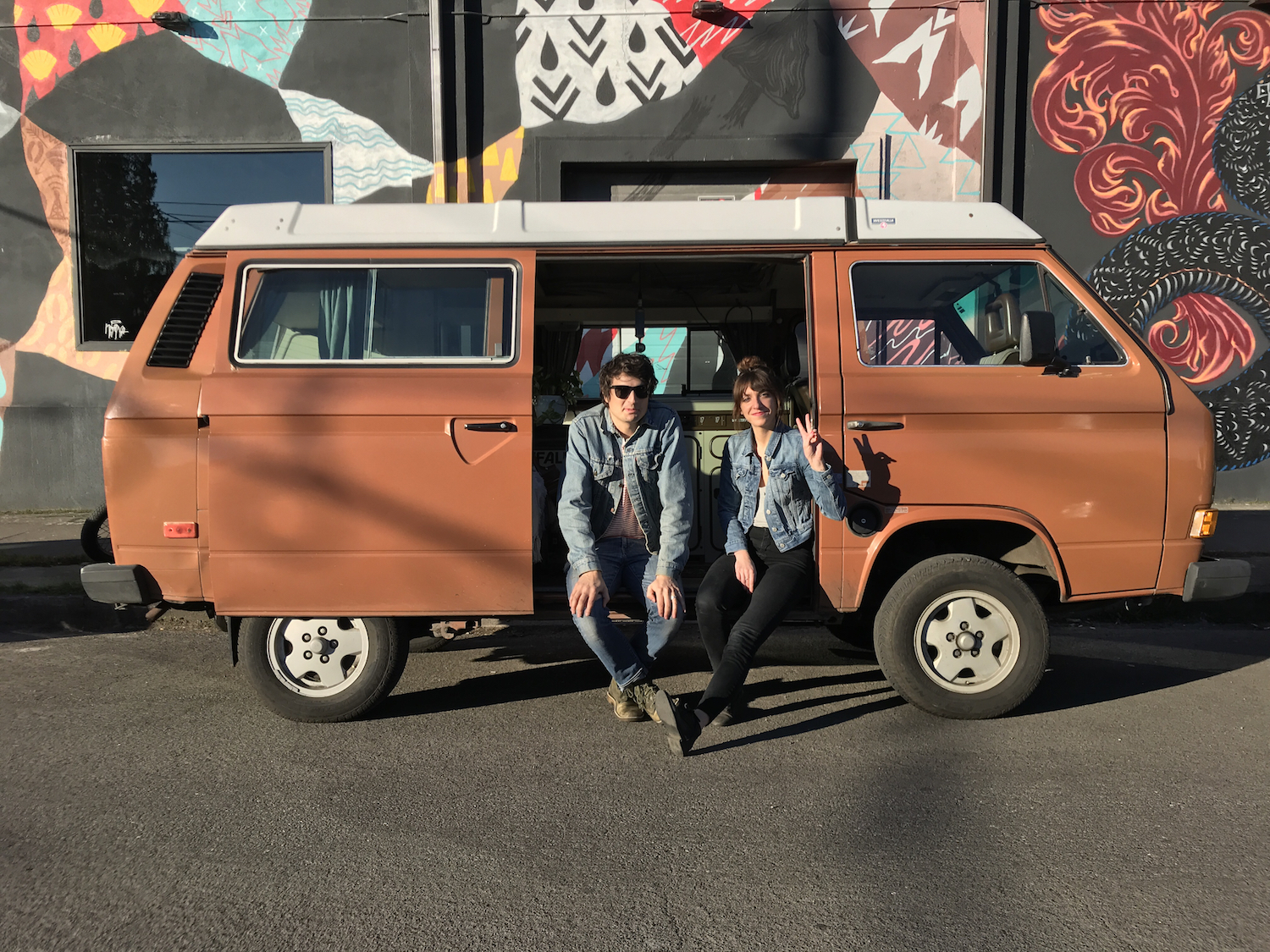 Ryan Rebo and Casey Wheeler in front of the vintage Westfalia