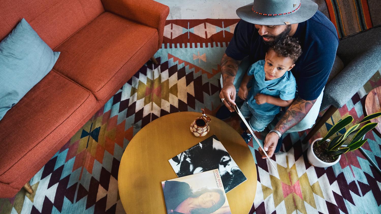 Rich Hunter and Cairo Hunter looking through records at Marmoset