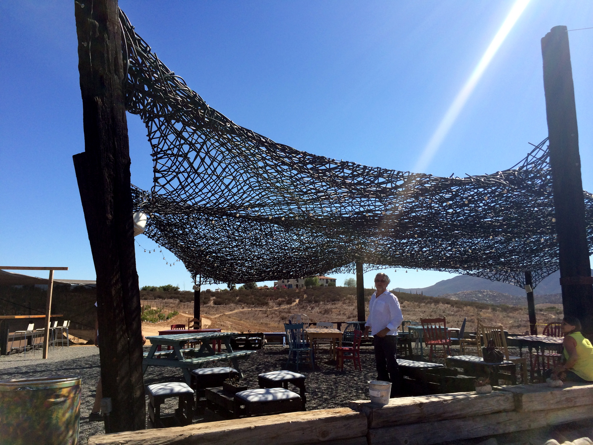 Shade structure made from re-purposed irrigation tubing, by architect Alejandro de'Acosta.