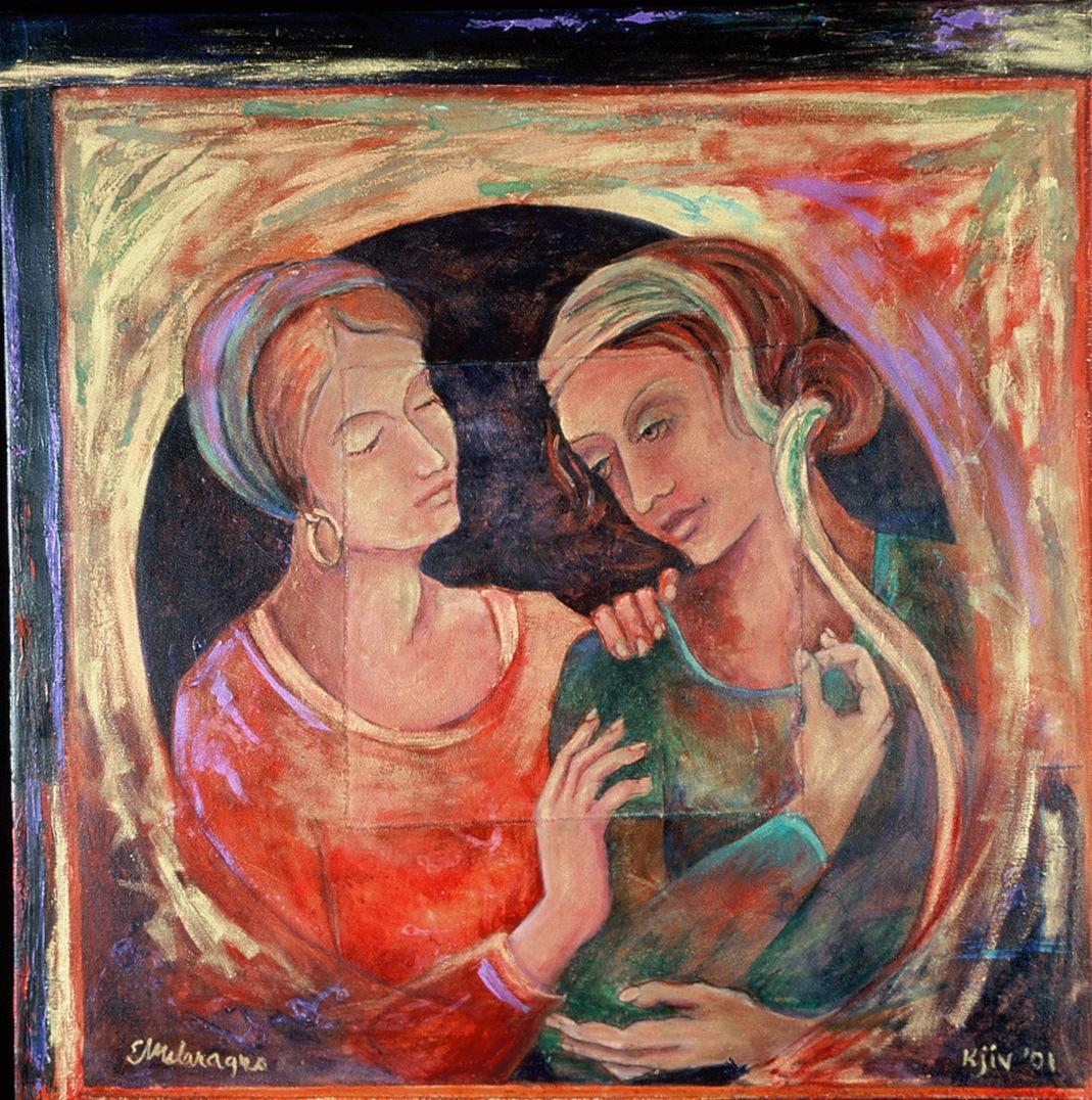 """Kjiv 2001,"" Oil, Mixed Media on Canvas by Elissa Melaragno"