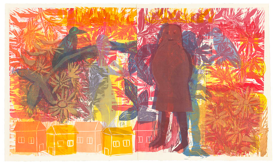 """Way Home, 25 x 35"""", Monoprint with Stencils by Carlyn Marcus Ekstrom (see more)"""