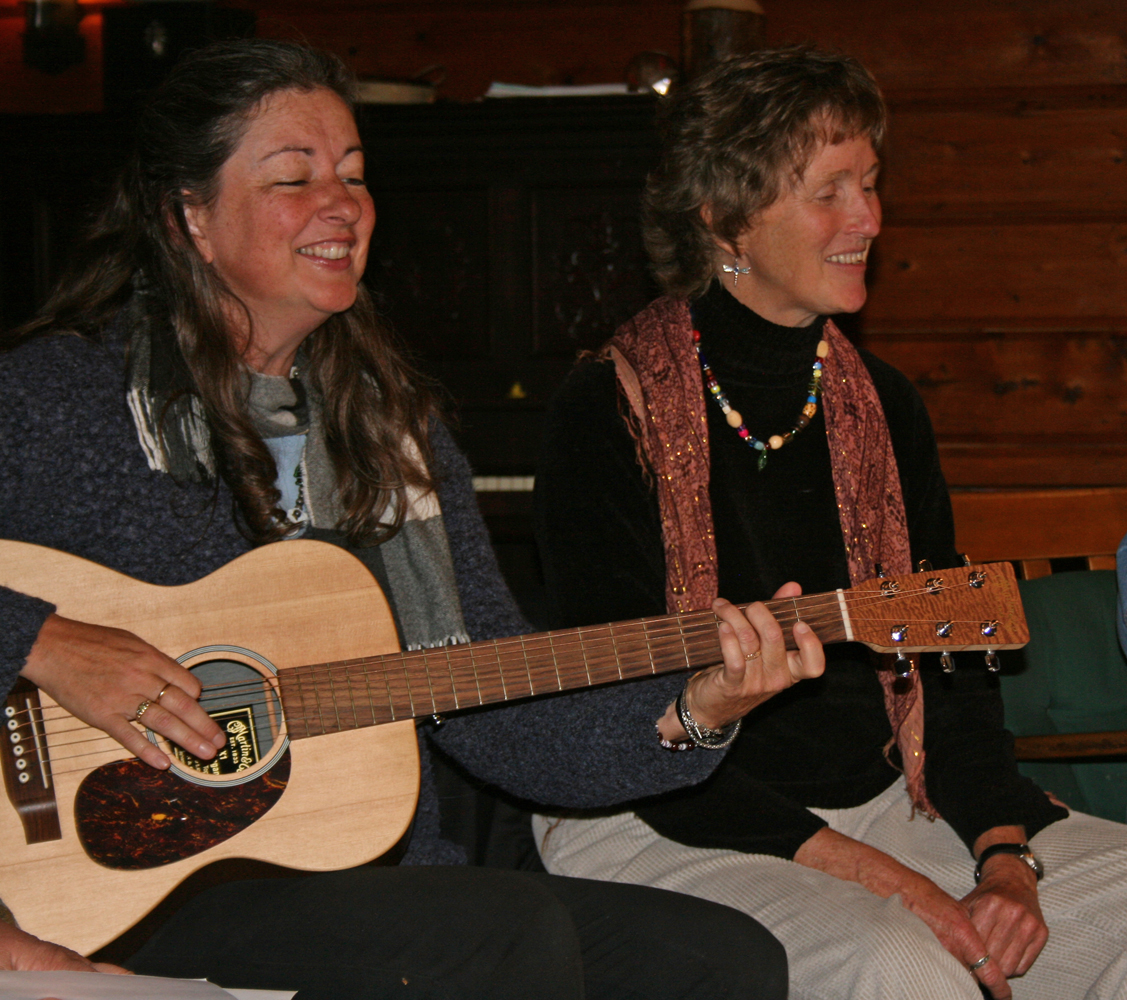 Storyteller Fran Yardley and Musician Peggy Lynn at a Creative Healing Connections retreat.