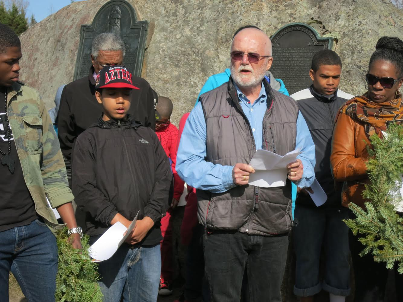 Russell Banks reading John Brown's last statement at the courtroom in front of John Brown's grave.