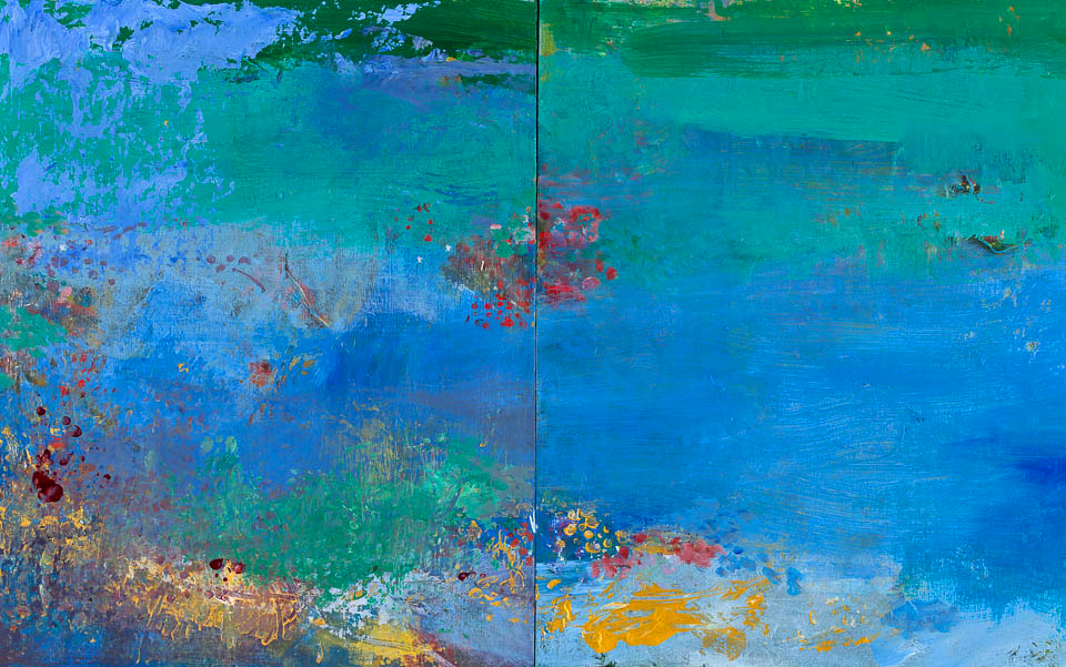"Cobalt Waters, 20 x 32"", Acrylic on Panel, Diptych"
