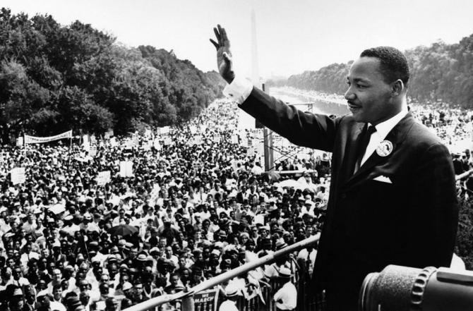 """Martin Luther King Jr. addresses a crowd from the steps of the Lincoln Memorial, where he delivered his famous """"I Have a Dream"""" speech, during the Aug. 28, 1963, march on Washington, D.C. WIKIMEDIA COMMONS"""