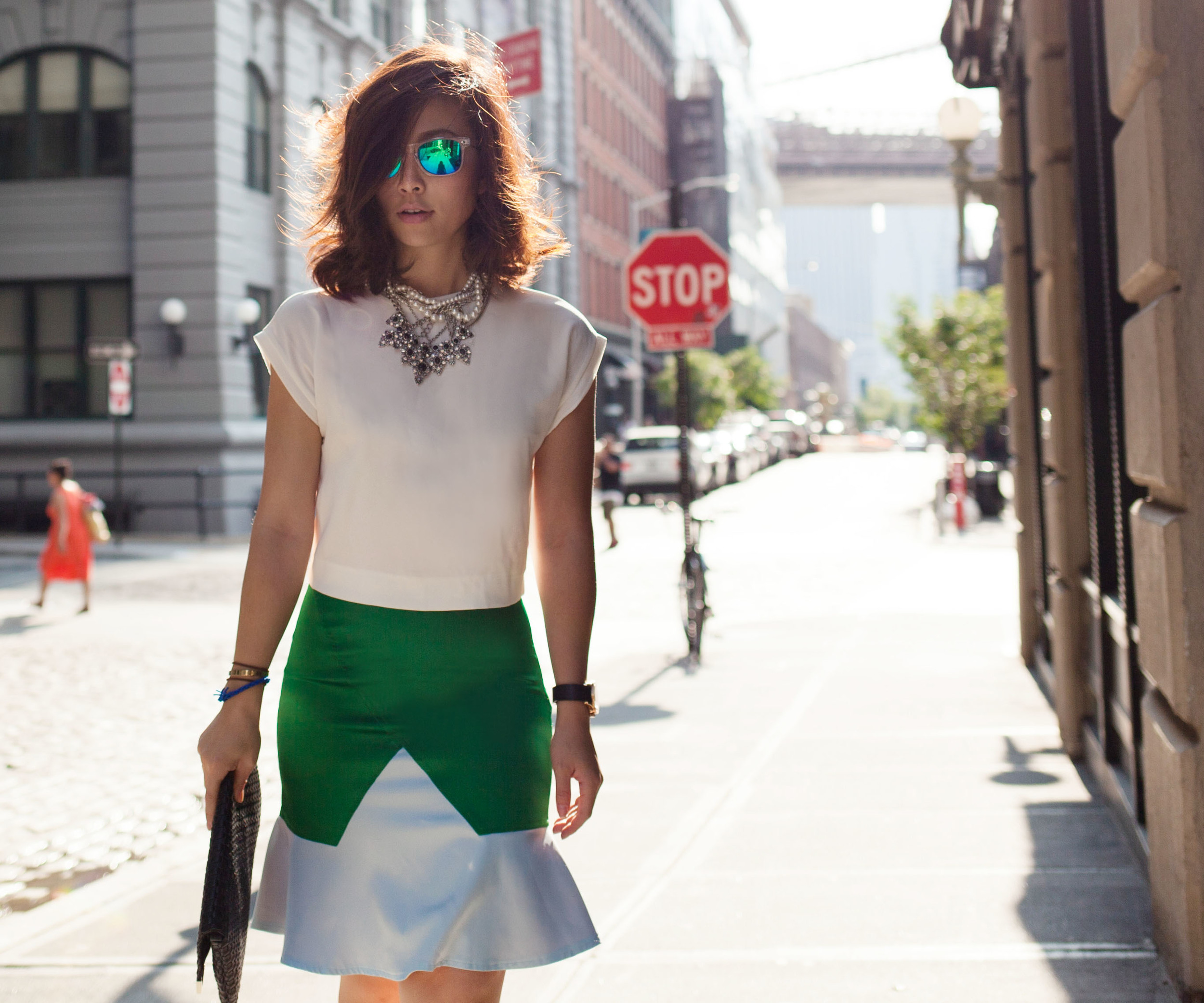 A simple color block outfit for summer