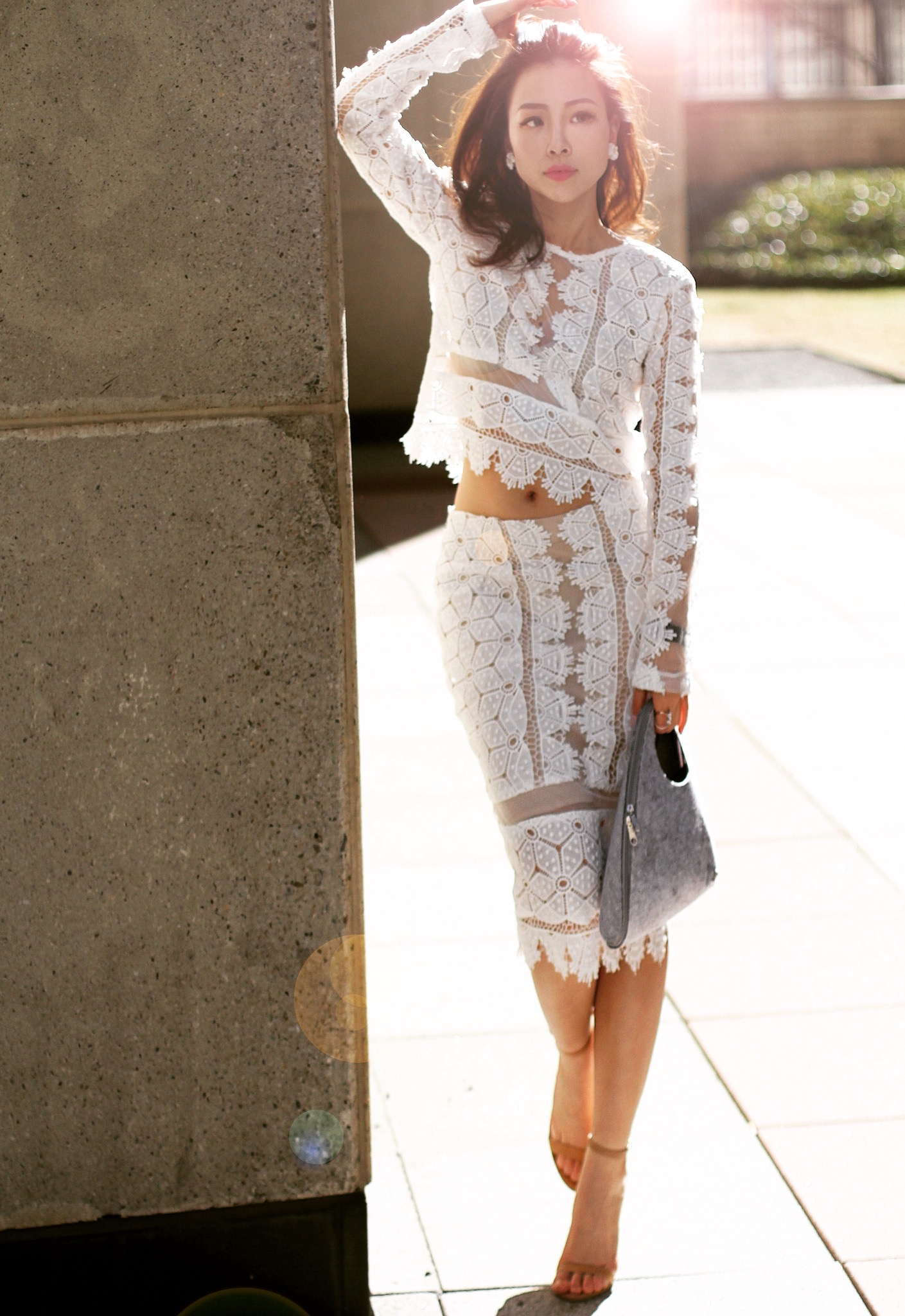 {Outfit} white lace set