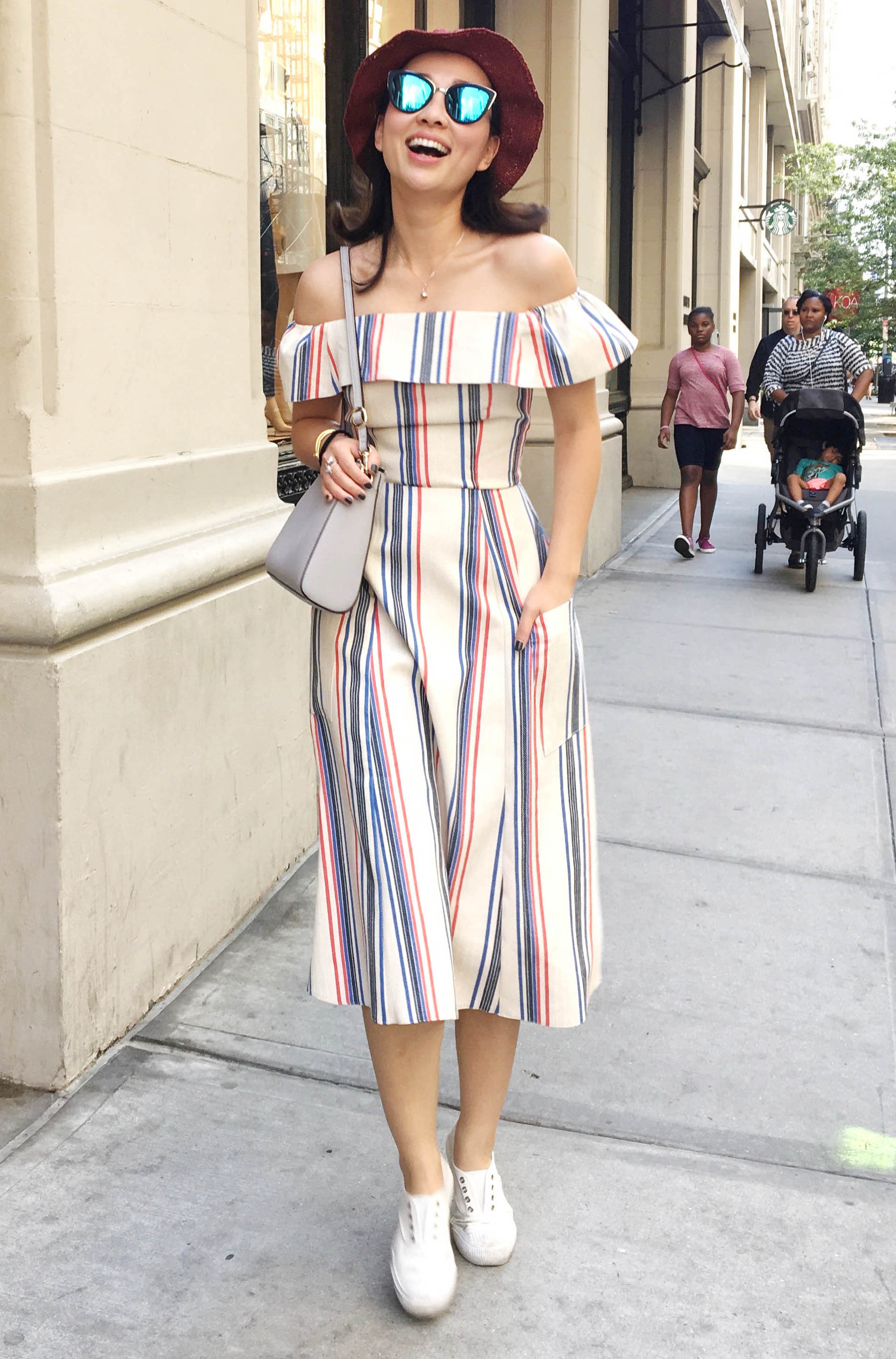 nyc blogger street style off shoulder dress.jpg
