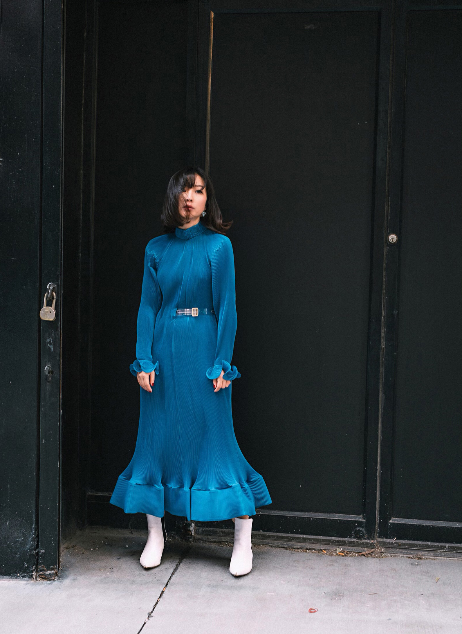 tibi blue PLEATED DRESS WITH REMOVABLE BELT.jpg