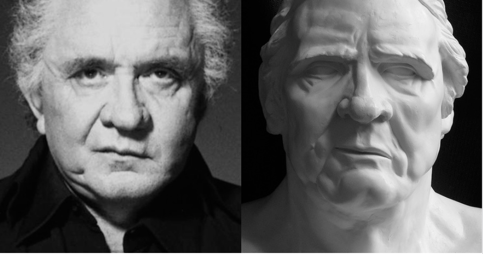 Portraits - This smirking bust of Johnny Cash interprets the famous singer as an ancient Homeric Bard.